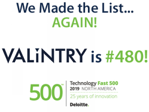 VALiNTRY Ranked as 480th Fastest Growing Company in North America on Deloitte's 2019 Technology Fast 500™