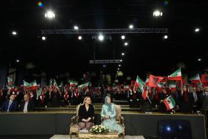 Ashraf-3, Albania, January 29, 2020 - Mrs. Monika Kryemadhi, Chairwoman of the Socialist Movement for Integration Party (Left), and Mrs. Maryam Rajavi, NCRI's President-elect, with thousands of members of the Mujahedin-e Khalq (PMOI/MEK)