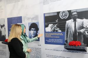 Ashraf-3, Albania, January 29, 2020 - Mrs. Monika Kryemadhi, Chairwoman of the Socialist Movement for Integration Party, and Mrs. Maryam Rajavi, the President-elect of the NCRI, visiting the Museum of 120 Years of Struggle for Freedom in Iran
