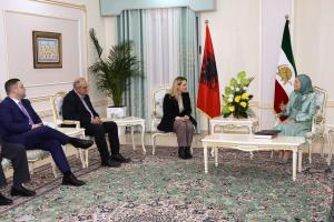 Ashraf-3, Albania, January 29, 2020 - Mrs. Monika Kryemadhi, Chairwoman of the Socialist Movement for Integration Party, heading a delegation of the party meeting with Mrs. Maryam Rajavi, the NCRI President-elect. To her left are Mr. Petrit Vasili, Deputy