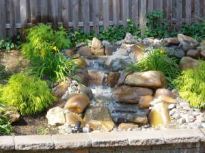 Water feature in a garden landscaping