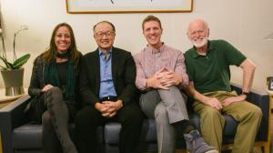 Shane Yeager & Celene Di Stasio sit with World Bank president Jim Kim & global leadership expert Marshall Goldsmith