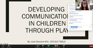 "Free Autism Workshop: ""Developing Communication in Children Through Play"" A presentation by Leah Diamant M.S., CCC-SLP, TSSLD."