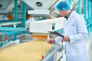 Food Factory Image with Food Factory Worker wearing PPE