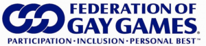 3 interlocking circles to convey the principles of the Gay Games which are Participation, Inclusion and Personal Best