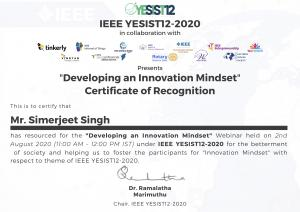 #VirtualKeynoteSpeaker Simerjeet Singh presented Certificate of Recognition by IEEE