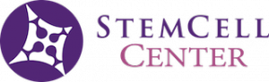A logo that is comprised of purple and pink, which reads Stem Cell Center.