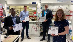 The winning team (left to right): Prof. Bryne Ngwenya, Luke Kinsman, Prof. Jason Love and Prof. Carole Morrison in a chemistry laboratory at Edinburgh University. Rosa Crevecoeur and Amrita Singh-Morgan unfortunately could not attend.