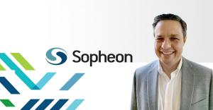 Picture of Mike Bauer on a background showing the Sopheon company logo