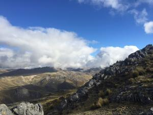 Photo taken from high up in the Andes mountains showing mountains and sky
