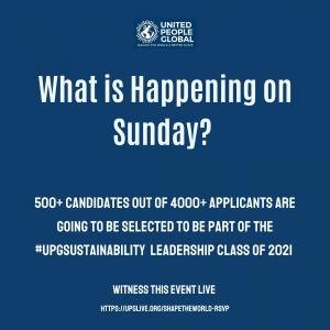 Flyer sharing news about the announcement on Sunday, 14 Feb 2021 - #UPGSustainability Leadership