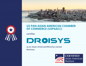 An image is shown with the USPAACC logo, Droisys's logo, and the San Francisco skyline, providing that Droisys is certified as a diverse minority-owned business and supplier.