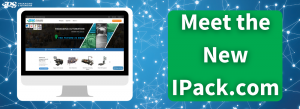 white text says meet the new ipack.com in green box on right with image of computer on ipack.com homepage on left over blue internet background