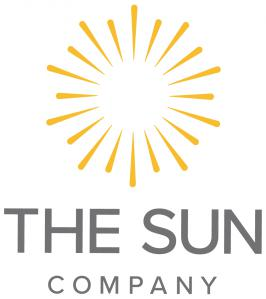 A yellow starburst illustration with The Sun Company written cleanly in Grey