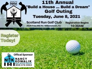 Image shows golf ball and Nancy Kowalik Real Estate Group's logos and event date and time