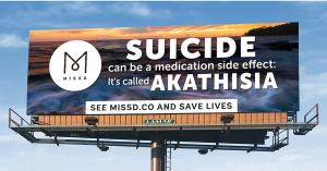 Akathisia billboards in West Virginia increase akathisia awareness to save lives.