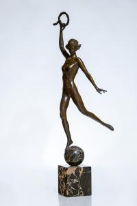 Bronze sculpture by Janet Scudder (American, 1873-1940), titled Victory, signed. Estimate: $15,000-$25,000.