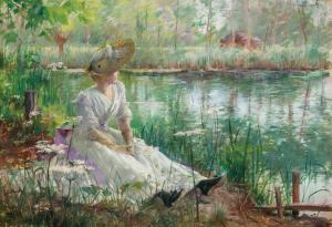 Oil on panel by Charles James Theriat (American, 1860-1934), titled A Beauty by a River, signed and dated. Estimate: $8,000-$12,000.