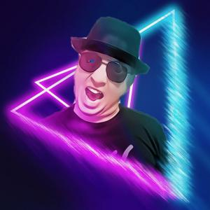 Caricature image of Makin Bakin with black hat and sunglasses.