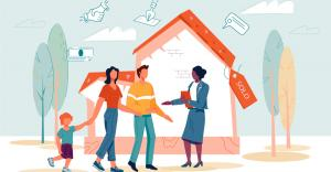 illustrated image of a family in front of a home, talking to a Realtor.