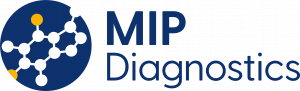 MIP Diagnostics logo - Blue circle with white and yellow molecule cut out