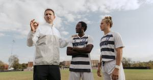 Coach with Asbury University Men's Soccer Players