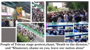 """July 26, 2021 - People of Tehran stage protest, chant, """"Death to the dictator,"""" and """"Khamenei, shame on you, leave our nation alone""""."""