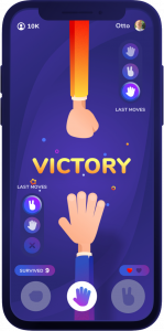 Phone screen showing the moment of victory for a Rock Paper Scissors player
