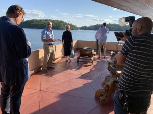 Patio of Frank Lloyd Wright inspired home on Petra Island with owner and builder Joe Massaro