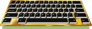 The image is of a golden computer keyboard with black keys with white letterin