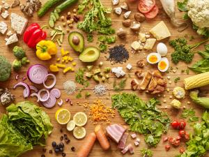 Color photo of a variety of of fruits, vegetables, proteins, grains and more