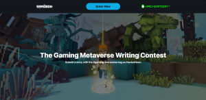 """A Sandbox character visual with the overlay text saying """"the gaming metaverse writing contest. Submit a story with the #gaming-metaverse tag on HackerNoon."""