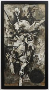 Dynamic oil on canvas Cubist painting by Maqbool Fida Husain (India, 1915-2011), a monotone composition (estimate: $40,000-$60,000).