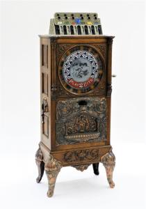 Circa 1904 Caille Brothers (Chicago) Eclipse upright 25-cent slot machine, a 63-inch-tall upright floor wheel model (estimate: $10,000-$15,000).