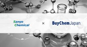 This image shows the corporate logos of Sanyo Chemical and of BuyChemJapan. The Japanese chemical manufacturer Sanyo has joined BuyChemJapan, an online marketplace specialised in B2B transactions for the export of Japanese chemicals.