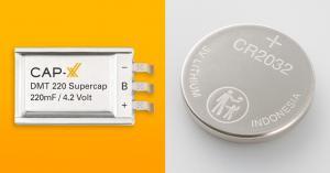 CAP-XX Prismatic Supercap + 3V Coin Cell Battery
