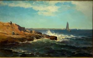 Oil on canvas marine work by Mauritz Frederik De Haas (Dutch/American, 1832-1895) ($8,610).