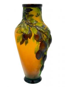 Galle cameo glass blown out vase with a Plums design, 15 ½ inches tall, of baluster form, fire polished ($9,840).