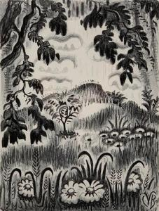 Lithograph on paper by Charles Burchfield (American, 1893-1967), titled Summer Benediction (1951-1952) ($5,228, a record for the image).