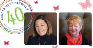 Headshots of Cancer Hope Network founders Diane Paul and Kris Luka, with small butterflies and 40th anniversary seal