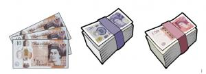 This is an image of cartoon versions of UK currency - £10, £20 and £50