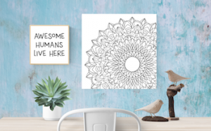 mandala art on canvas with framed printable art