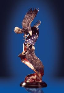Reflections of America by Laran Ghiglieri, two eagles intertwined with the American Flag