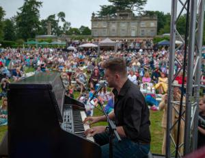 Peter Donegan at the keyboard at the 15th annual Summertime Swing at Saint Hill
