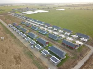 Sunview Homes and Sunfinity Renewable Energy created solar-topped carports for this housing development outside of Durant.