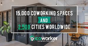 A graphic displaying Coworker's milestone of reaching 15,000 coworking spaces in its network.